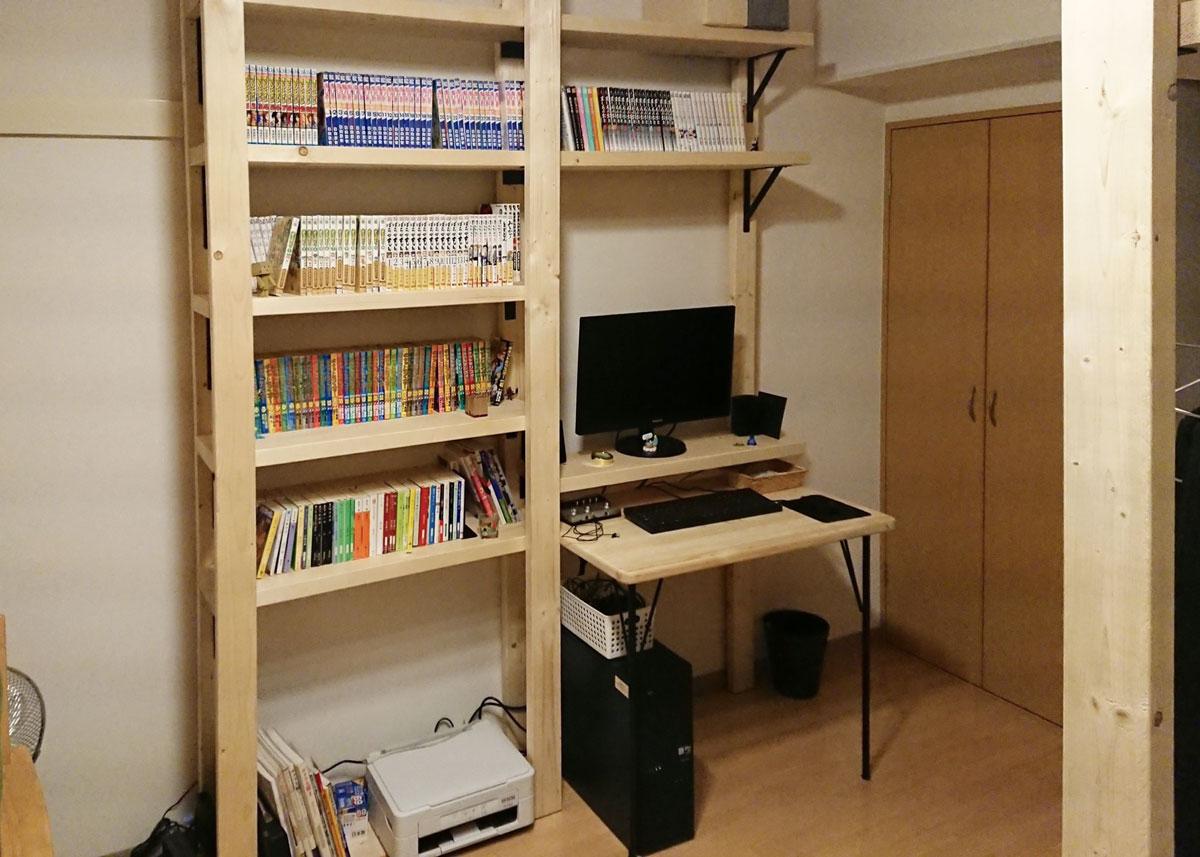 ワークデスクのdiyの完成した部屋